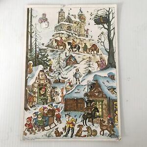 Vtg Made in West Germany ADVENT CALENDAR Christmas Town Elves Castle Glitter