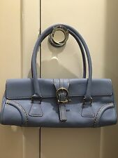 New Beautiful Blue Leather Burberry Nova Print Lining Long Bag w White Stitching