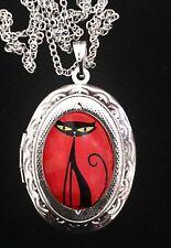 Shag Cat Ornate Silver Locket + Necklace 1960's Retro Kitty Eyes Red Black