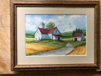 """W. Ralph Murray FRAMED PAINTING Signed """"Rural Quietness"""" Waterville NY Farmstead"""