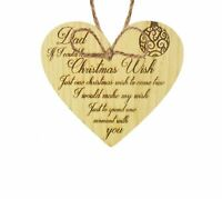 Dad Christmas Memorial Tree Decoration Hanging Oak Wooden Bauble Gift For Father