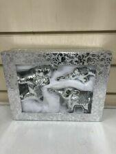 BRAND NEW Silver Set Of Elephants Sparkle Bling Ornament Crushed Diamonds UK