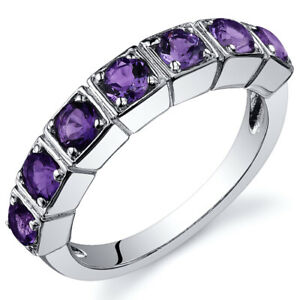 7 Stone 1.75 cts Amethyst Band Ring Sterling Silver