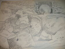 LISTED OTTO ROTHENBURGH DRAWING OLD RUINS