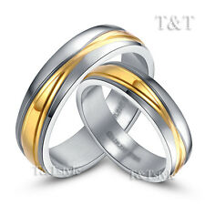 T&T 14K Gold GP S.Steel Engagement Wedding Band Comfort Fit Ring For Couple 6-15