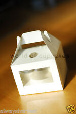 Single Window Cupcake Box with Handle Cup Cakes Boxes White Bomboniere set of 50