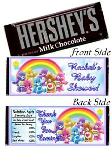 12 Care Bears Birthday Party Baby Shower Hershey Candy Bar Wrappers