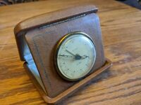 ANTIQUE ART DECO LARGE FLORN ALARM TRAVEL CLOCK FOLDING BROWN CASE WINDUP RARE