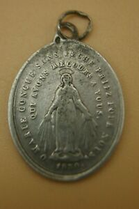 † 1830 IMMACULATE BVM MIRACULOUS MEDAL STERLING SILVER NUN'S PENDANT FRANCE †