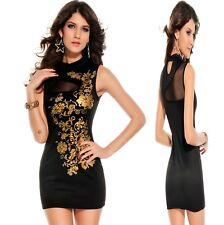 Sz 10 12 Black Sleeveless Dance Party Wear Club Cocktail Formal Chic Mini Dress