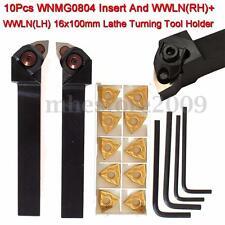 2pcs Lathe Turning Tool Holder Right & Left + 10pcs WNMG0804 Inserts CNC Blades