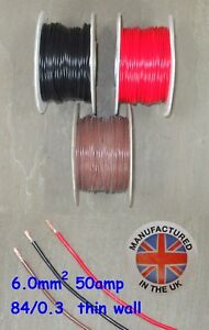 Thin wall cable 6.0mm², (9AWG) 50amp, Auto, Marine, Low Voltage,     TW6.0