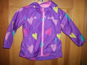Girls Size  4T Cat & Jack Purple with Hearts Rain Jacket Zip up with Hood
