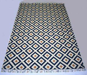 Handmade Block Print Cotton Area Rug Geometric Large Carpet 200X300 Cm DN-1909