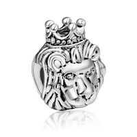 Brand Lion with Crown 925 Sterling Silver European Charms For Boy Bead Bracelet