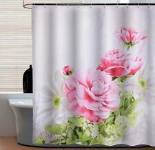 Pink White Flower Petals Bathroom Shower Curtain 180cm X 180cm Polyester Hooks