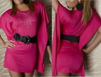 SeXy Miss Damen Mini Kleid Flügel Arm Long Top Nieten 34/36/38 pink +Gürtel NEU