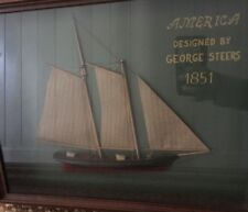 George Steers Model Ship Framed 1851 Vintage Boxed Sculpture Design