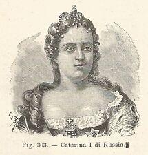 B1693 Caterina I di Russia - Incisione antica del 1924 - Engraving