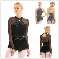Women Figure Ice Skating Fingertip Mesh Splice Leotard Dance Dress Stage Skirts