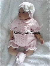 Knitting Pattern #105 (INSTRUCTIONS) Romper set for Baby/Reborn 20-22in