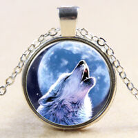 New Vintage howling Wolf Cabochon Tibetan Silver Glass Chain Pendant Necklace