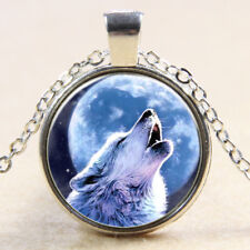 Newest Vintage howling Wolf Cabochon Tibetan Silver Glass Chain Pendant Necklace