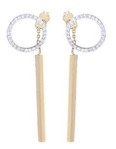 Ohrhänger Gold 585 mit Zirkonias Ohrringe Damen langer Ohrschmuck