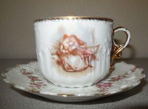 ca 1900 GERMAN Porcelain Mustache Cup & Saucer PINK ROSES Transferware NR