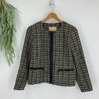 Banana Republic Blazer Jacket Womens Size 10 Black Tweed Faux Leather Trim NWT