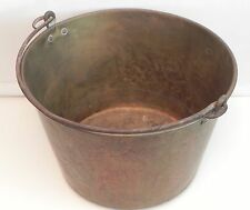 Antique Solid Copper Cauldron Kettle Jam Candy Preserve Pot w/ Handle Rustic Vtg