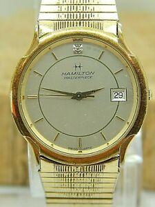 Vintage Quartz Gold tone Hamilton Masterpiece date wrist watch model 9234