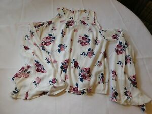 Hollister California Women's Junior's floral blouse top shirt shoulderless S--