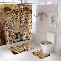 Leopard Shower Curtain Set Thick Bathroom Rug Bath Mat Non-Slip Toilet Lid Cover