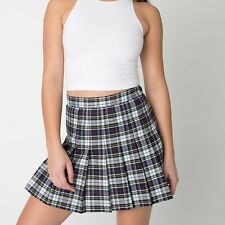 NWT American Apparel Plaid Pleated Tennis School Girl Skirt Lelett Black White S