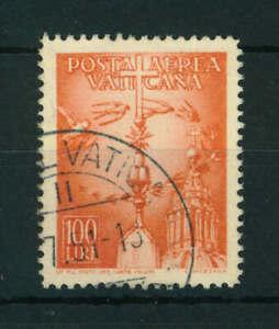 Vatican 1947 Airmail 100L orange stamp. Used. Sg 136