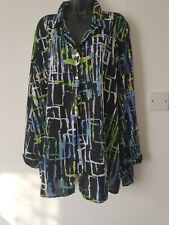 Ladies size 28, sheer, multicolour, long sleeve blouse, button up.