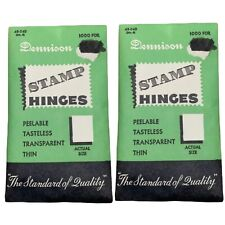 2 Packs of 1000 Best Stamp Hinges EVER Dennison #4 Flat Hinges 25c No. 4