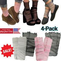 4-Pair Women Glitter Ultra Thin Mesh Tulle Sock Transparent Fishnet Hosiery USA