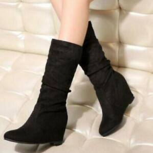 Womens Slouch Mid Calf Boots Wedge Round Toe Hidden Heels Casual Pull On Shoes