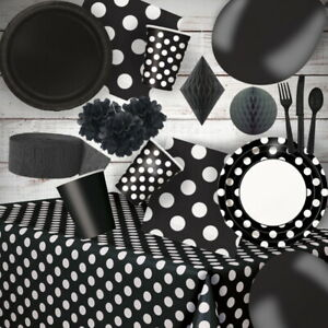 Black Coloured and Polka Dot Party Supplies Tableware, Decoration, Balloons