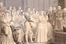 19C English Engraving Original Carved Frame Queen Victoria's wedding 1840