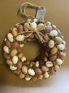 Gisela Graham 30cm Moss Natural Egg Wreath Easter Decoration - 123