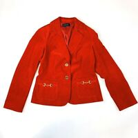 Talbots Size 4 Jacket Womens Red Corduroy 2 Button Blazer  Career