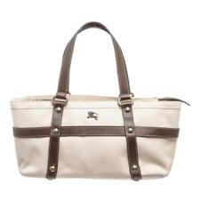 Burberry Beige Brown Canvas Leather Shoulder Bag Lot 479