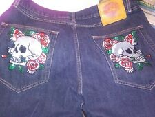 Ed Hardy Men's Jeans Embroidered Skull Backpockets 40 X 32