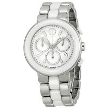 Movado Cerena White Ceramic Chronograph Ladies Watch 0606758