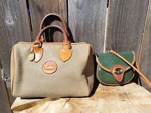 LOT 2 VTG DOONEY & BOURKE SMALL GREEN CAVALRY BAG & BEIGE/BROWN SPEEDY HAND BAG
