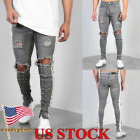 Men Skinny Stretch Jeans Ripped Jogging Joggers Destroyed Denim Pants Trousers
