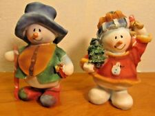 country style snowman couple figurines